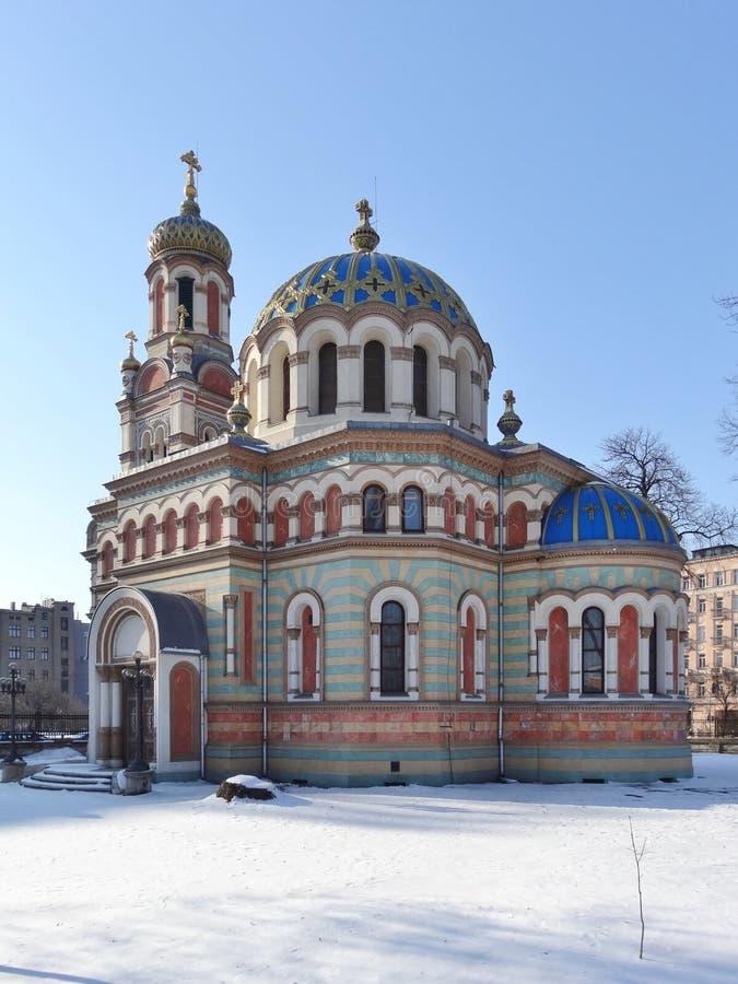 Alexander Nevsky Cathedral ortodoxo em Lodz, imagens de stock
