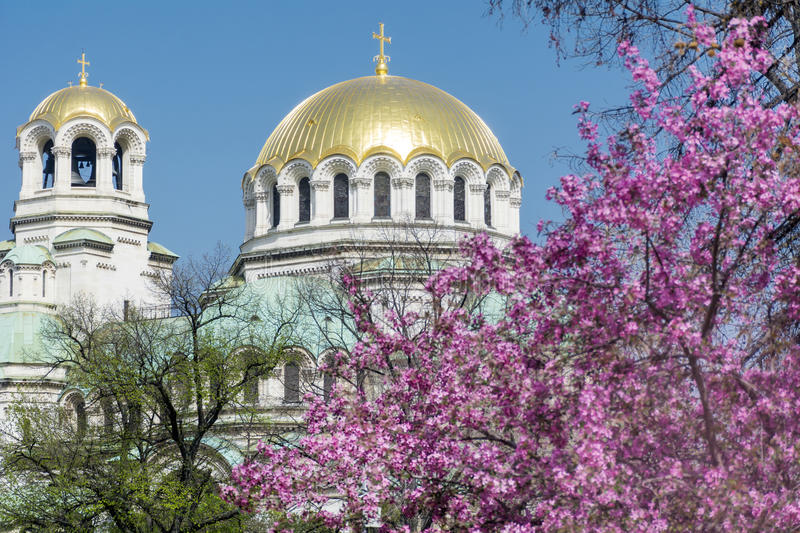 Alexander Nevsky cathedral in Sofia,Bulgaria. The gold-domed Alexander Nevsky Cathedral is a Bulgarian Orthodox cathedral in Sofia stock images