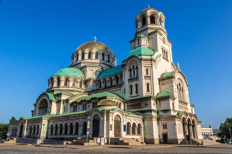 Alexander Nevsky cathedral in Sofia. The Alexander Nevsky cathedral in Sofia, Bulgaria in a summer day stock photography
