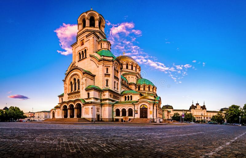 Alexander Nevsky Cathedral in Sofia Bulgaria. During the sunrise. Beautiful scene and clouds stock image
