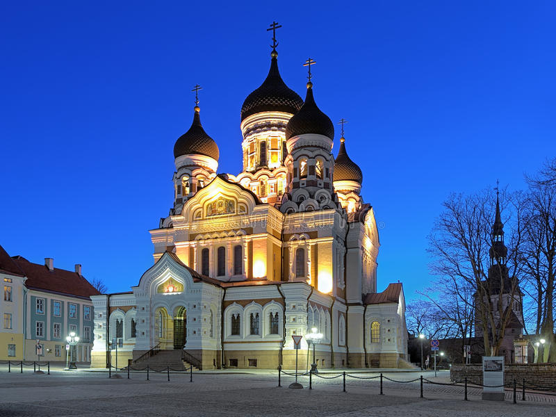 Alexander Nevsky Cathedral in Tallinn in early morning, Estonia. Alexander Nevsky Cathedral in the Tallinn Old Town in early morning, Estonia stock photography