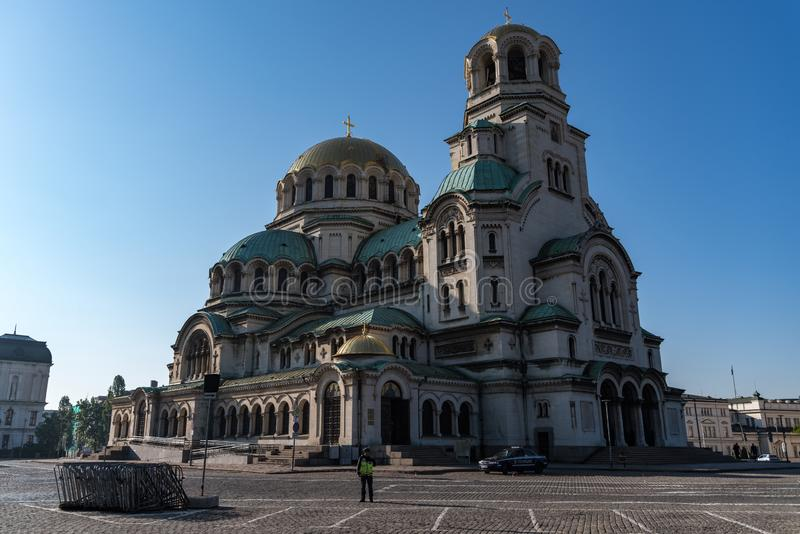 Alexander Nevsky Cathedral in van de binnenstad van Sofia, Bulgarije royalty-vrije stock fotografie