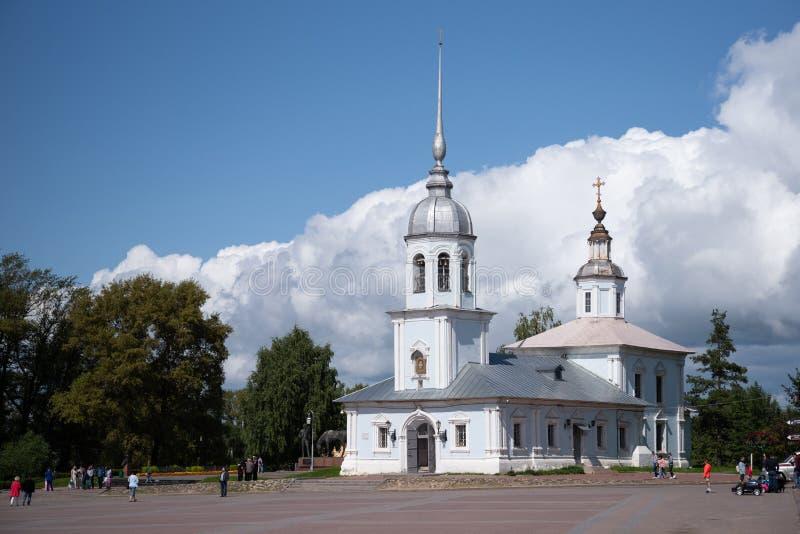 Alexander Nevsky Church i Vologda, Ryssland Alexander Nevsky Church byggdes i ?rhundradet XVIII Det är enkupolformig kyrka in arkivbilder