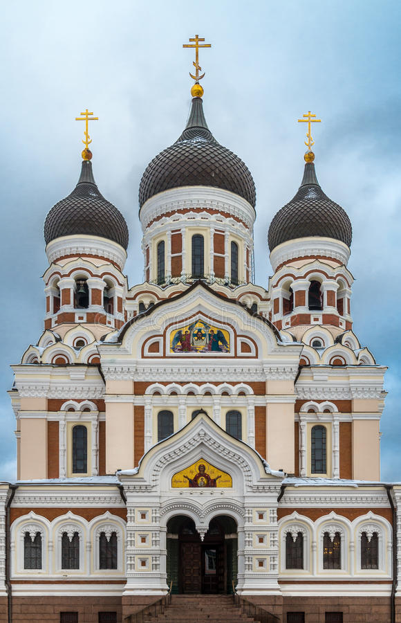 Alexander Nevsky Orthodox Cathedral in the Tallinn Old Town, Est. Onia Front View royalty free stock image