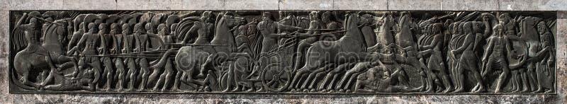 Alexander o grande, monumento da arte do relevo fotografia de stock