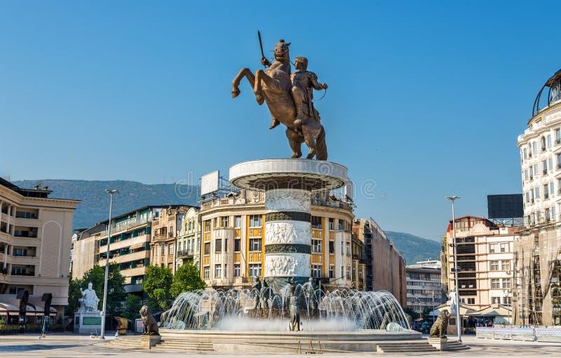 Alexander o grande monumento em Skopje fotografia de stock