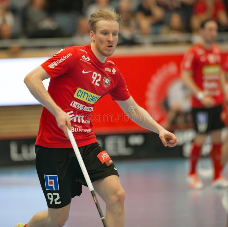 Alexander Rudd dans l'action dans Storvreta contre de Mullsjö la finale semi images stock