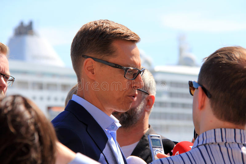 Alexander Stubb Meets Media royaltyfria bilder