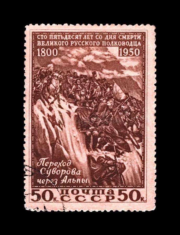 Alexander Suvorov, commandant militaire russe célèbre, maréchal, soldats croisant la montagne d'Alpes, URSS, vers 1950 images libres de droits