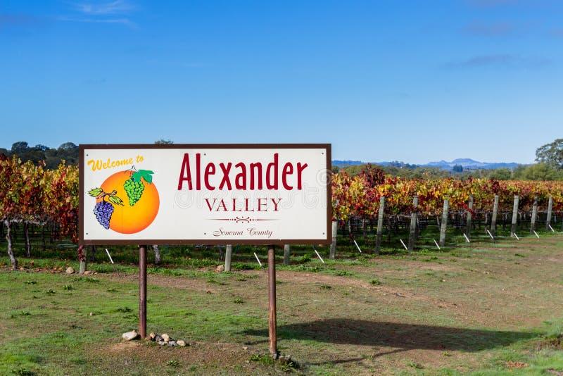 Alexander Valley-Willkommensschild lizenzfreies stockbild