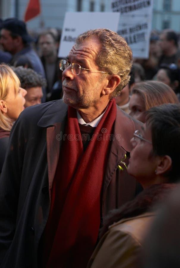 Alexander van der Bellen bij een Protest royalty-vrije stock foto