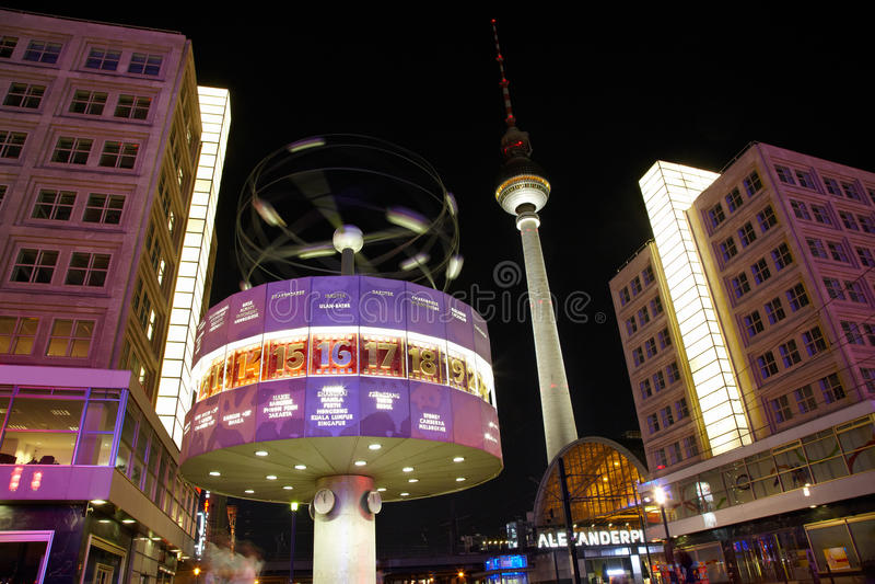 Alexanderplatz, Tv tower and world clock. Night view, Berlin, Germany royalty free stock photography