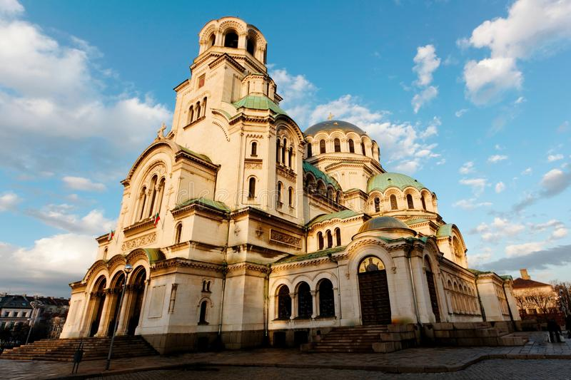 Alexandr Nevski Cathedral in Sofia, Bulgaria, with its golden do. Mes royalty free stock images