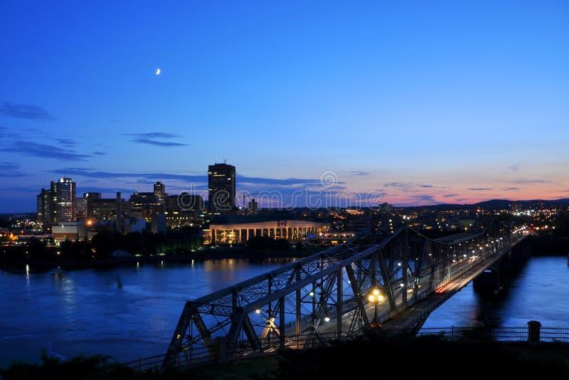 Alexandra Bridge en Gatineau, Ottawa royalty-vrije stock foto's