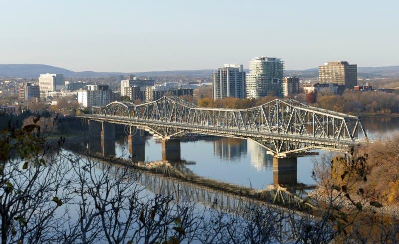 Alexandra Bridge in Ottawa during the cold sunny day stock photo