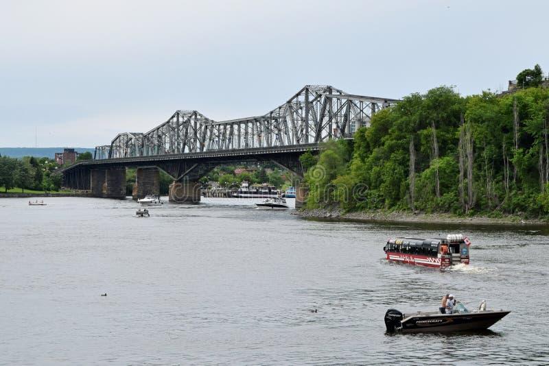 Alexandra Bridge, Ottawa, Ontario, Canada. Ottawa River and Alexandra Bridge, Ottawa, Ontario, Canada. The Royal Alexandra Interprovincial Bridge is a steel stock images