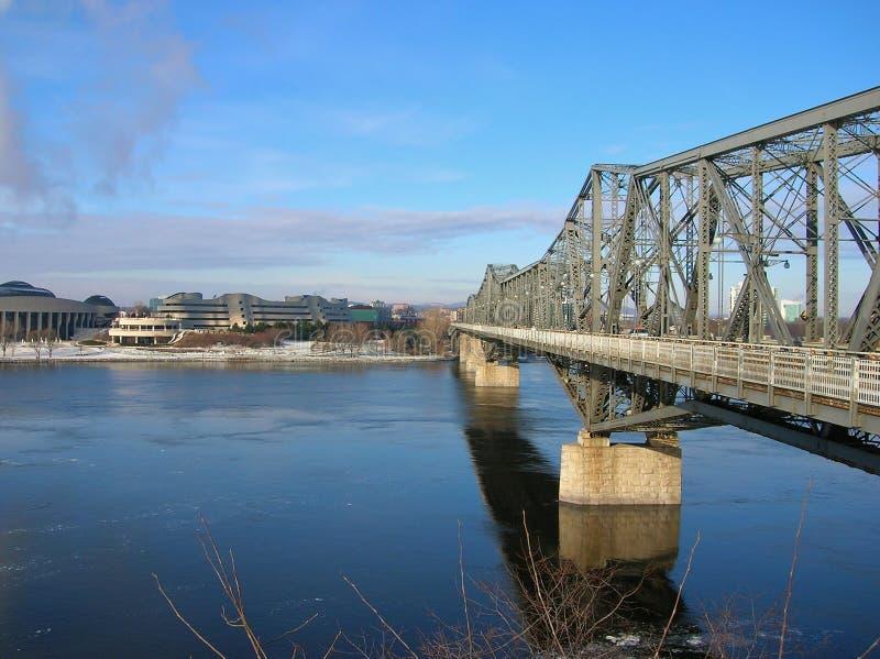 Alexandra Bridge som ses från den Ottawa sidan arkivbilder