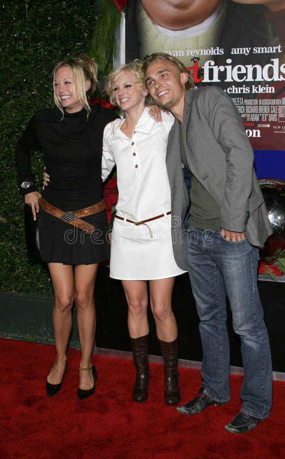 Alexandra Holden, Anna Faris and Joey Kern. WESTWOOD, CALIFORNIA. November 14, 2005. Alexandra Holden, Anna Faris and Joey Kern at the `Just Friends` Premiere at royalty free stock images