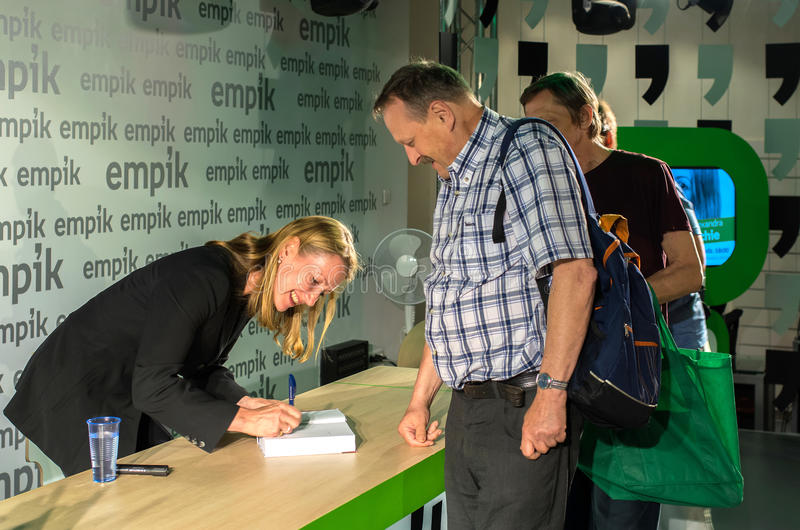 Alexandra Richie. Warsaw, Poland - August 13, 2014: Meeting with Alexandra Richie, PhD, the author of the book Warsaw 1944. The Fateful Uprising royalty free stock photography