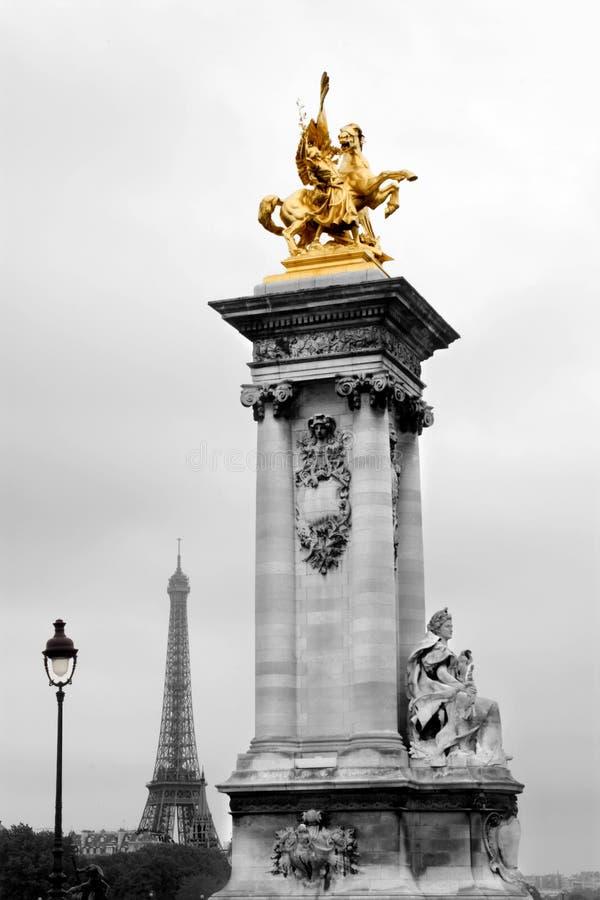 alexandre桥梁iii巴黎雕塑 图库摄影