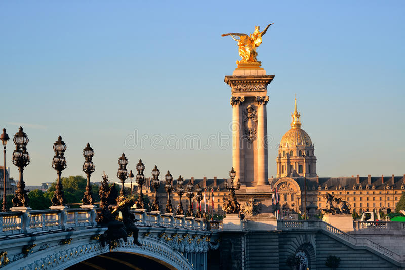 Alexandre III bridge. And Napolean's tomb in Paris, France royalty free stock image