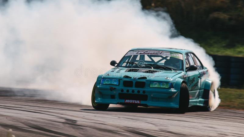 Alexandre Strano driving a BMW E36 M3 Turbo by Strano Autosport during a drift battle. Oschersleben, Germany, August 31, 2019: Alexandre Strano driving a BMW E36 stock photos