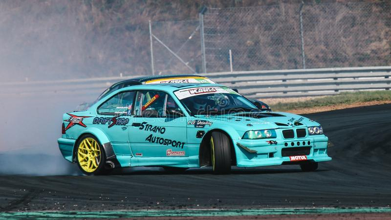 Alexandre Strano driving a BMW E36 M3 Turbo by Strano Autosport during a race car. Oschersleben, Germany, August 31, 2019: Alexandre Strano driving a BMW E36 M3 stock photo