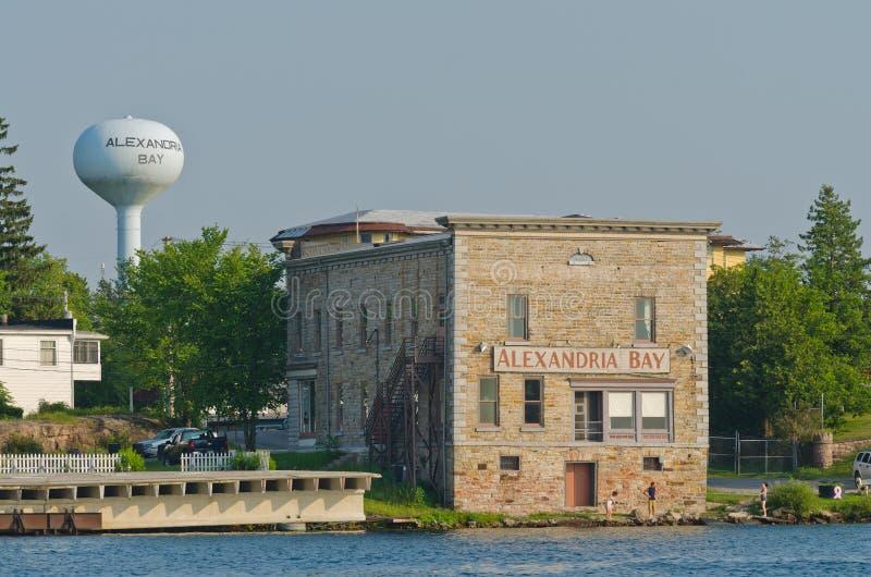 Alexandria Bay, New- Yorkaltes Steingebäude stockbilder