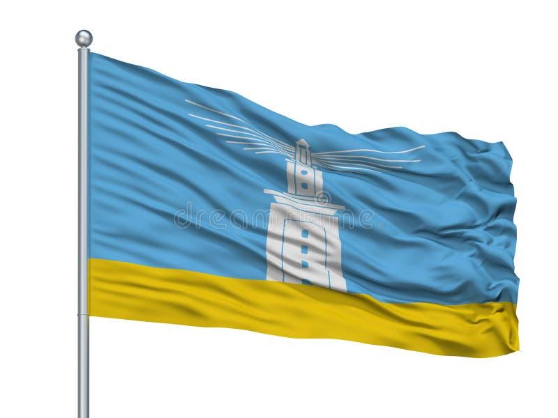 Alexandria City Flag On Flagpole, Egipto, aislado en el fondo blanco libre illustration