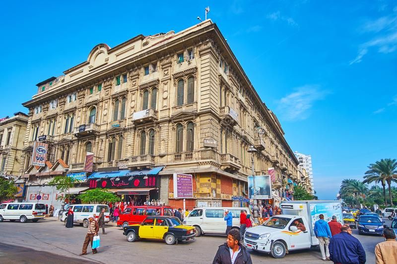 Tahrir square in Alexandria, Egypt. ALEXANDRIA, EGYPT - DECEMBER 17, 2017: El-Tahrir square is busy and crowded location in Al Mansheyah Al Kubra district, here stock photo