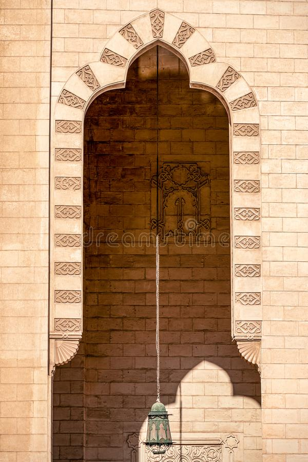 18/11/2018 Alexandria, Egypt, Elements of the decor of the incredibly beautiful mosque Abo El Abass. On a sunny day royalty free stock photos