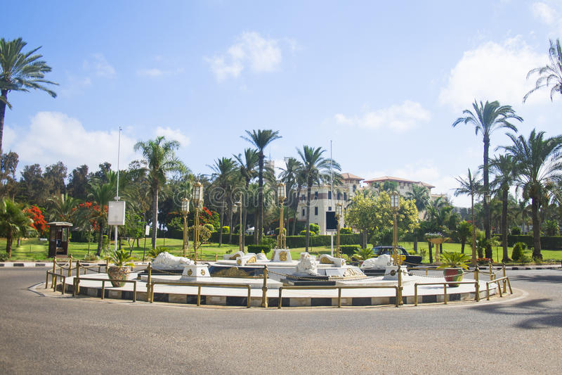 ALEXANDRIA, EGYPT - 25 JUNE 2015: Monument with lions in the park Montazah in Alexandria, Egypt stock image