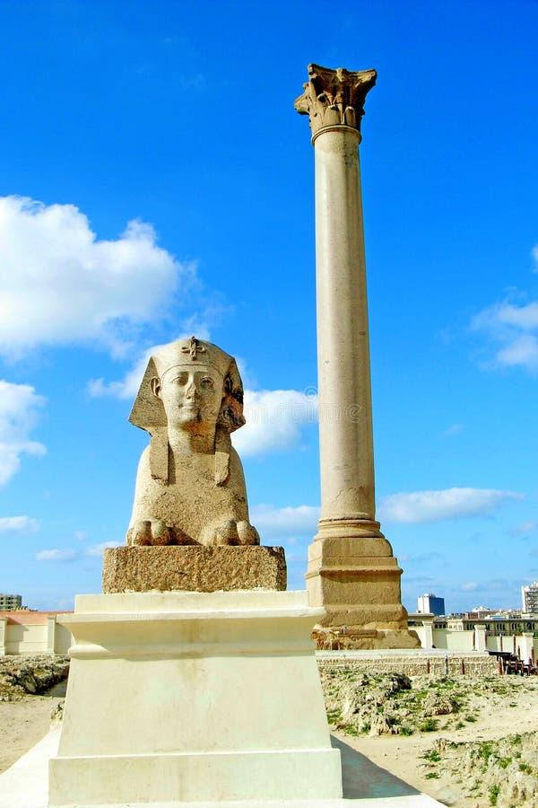 alexandria egypt pelarpompey s fotografering för bildbyråer
