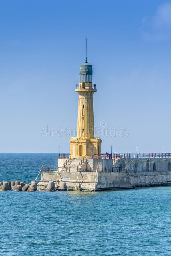 Alexandria Lighthouse. Elmontazah Lighthouse of Alexandria, Egypt . Mediterranean stock images