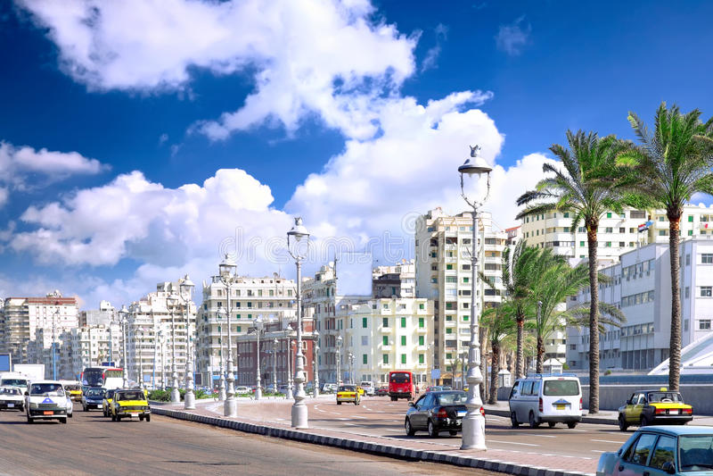 Alexandria stad, stads- sikt royaltyfri bild