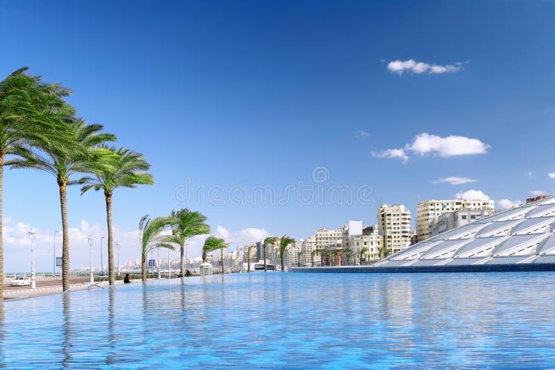 Alexandria stad, stads- sikt. royaltyfri bild