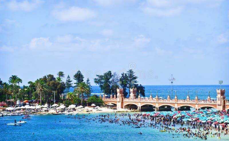 alexandria strand egypt royaltyfria bilder