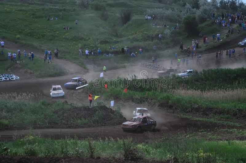 Alexandria, Ukraine - June 10, 2017: Race of the old wrecked cars. Rally on open air with dust royalty free stock photo
