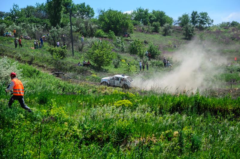 Alexandria, Ukraine - June 10, 2017: Race of the old wrecked cars. Rally on open air with dust royalty free stock images