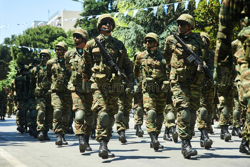 ALEXANDROUPOLI, GRÉCIA 14 DE MAIO DE 2018: Forças especiais gregas Selebra foto de stock royalty free
