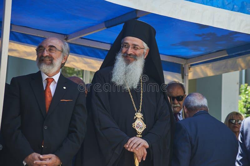 ALEXANDROUPOLI, GREECE-MAY 14, 2018: Bishop Anthimos of Alexandroupolis.Selebration Of Alexandroupoli Independence Day Parade. royalty free stock images