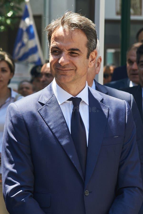ALEXANDROUPOLI GREECE-MAY 14, 2018: Grekisk ledare av nya Democra arkivbild