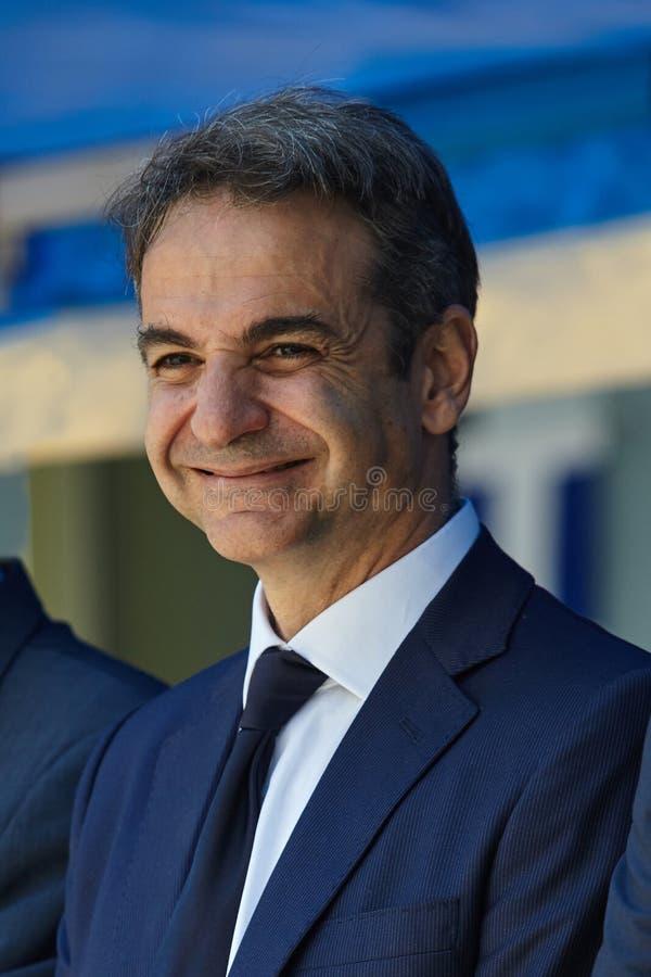 ALEXANDROUPOLI GREECE-MAY 14, 2018: Grekisk ledare av nya Democra royaltyfria foton