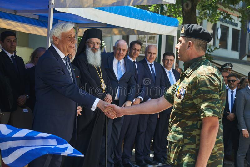 ALEXANDROUPOLI GREECE-MAY 14, 2018: Grekisk president Prokopis Pav arkivbild