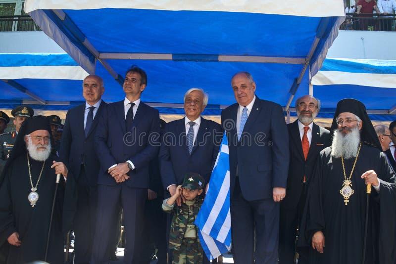 ALEXANDROUPOLI GREECE-MAY 14, 2018: Grekisk president Prokopis Pav royaltyfri bild