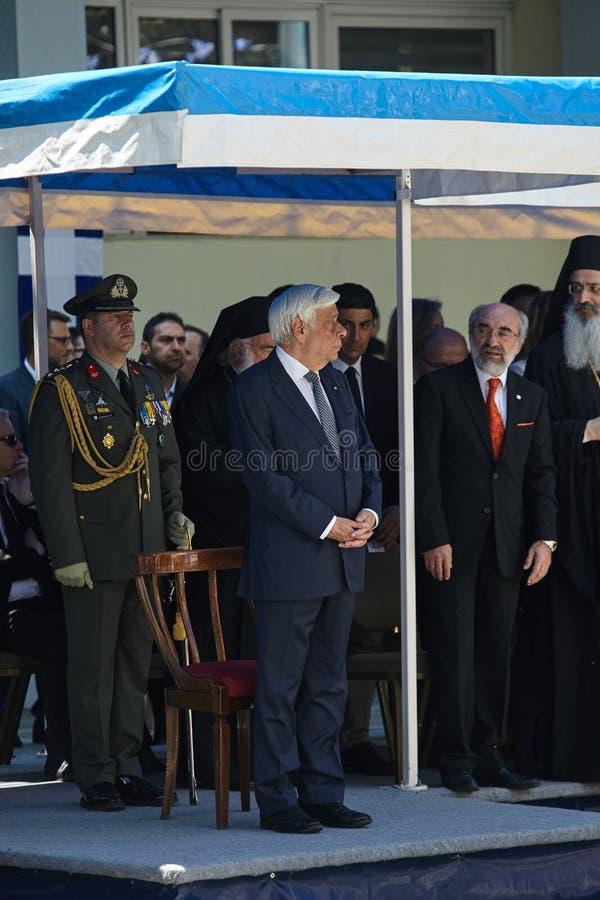 ALEXANDROUPOLI GREECE-MAY 14, 2018: Grekisk president Prokopis Pav arkivbilder