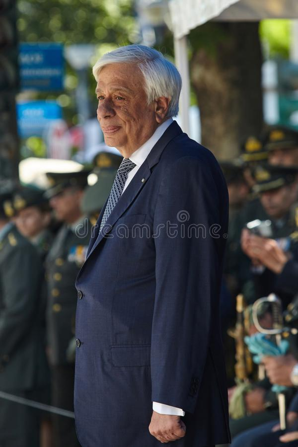 ALEXANDROUPOLI GREECE-MAY 14, 2018: Grekisk president Prokopis Pav royaltyfria foton