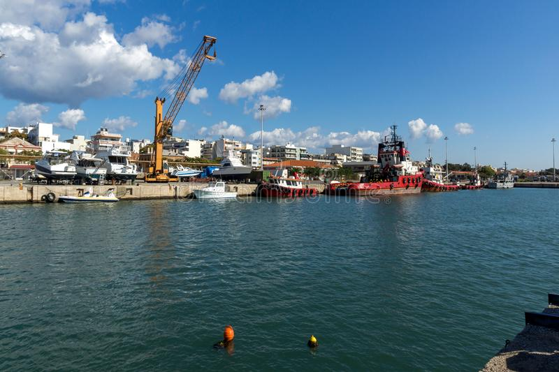 Port and Panorama to town of Alexandroupoli, East Macedonia and Thrace, Greece. ALEXANDROUPOLI, GREECE - SEPTEMBER 23, 2017: Port and Panorama to town of stock images