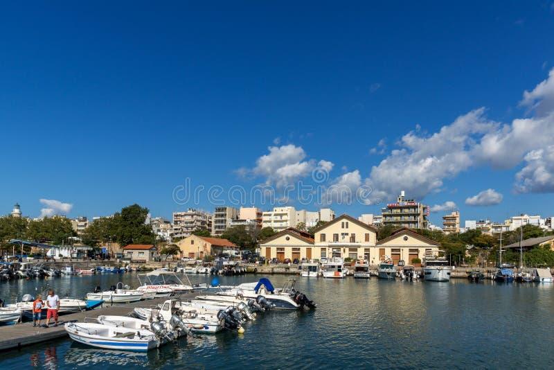 Port and Panorama to town of Alexandroupoli, East Macedonia and Thrace, Greece. ALEXANDROUPOLI, GREECE - SEPTEMBER 23, 2017: Port and Panorama to town of stock photo
