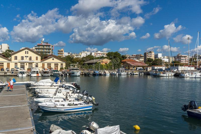 Port and Panorama to town of Alexandroupoli, East Macedonia and Thrace, Greece. ALEXANDROUPOLI, GREECE - SEPTEMBER 23, 2017: Port and Panorama to town of royalty free stock photo